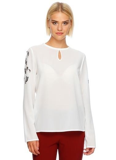 House Of Camellia Uzun Kollu Şifon Bluz Beyaz